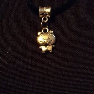Silver tone Pig pendant necklace